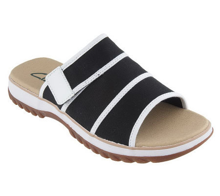 Clarks Canvas Wide Band Comfort Sandals