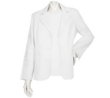 Susan Graver Stretch Twill Jacket with Cutout Detail & Solid Shell