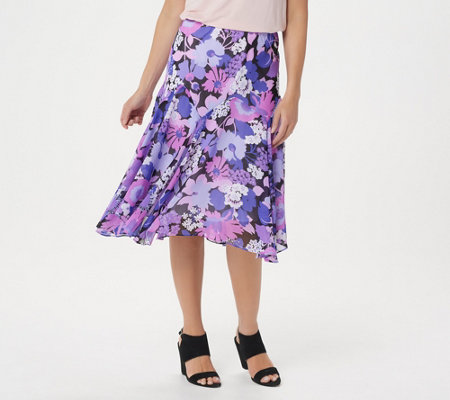 Bob Mackie's Fully Lined Floral Print Skirt
