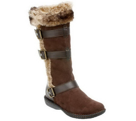 b o c by born suede boots with faux fur buckle detail