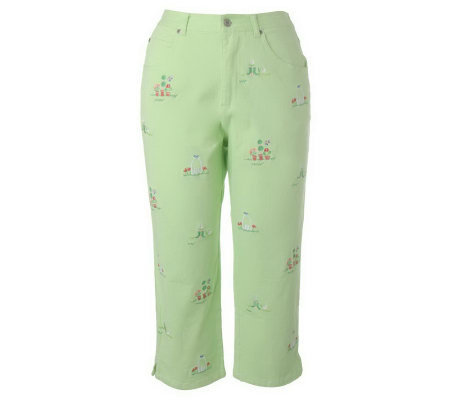"""As Is"" Quacker Factory Lazy AfternoonStretc h Crop Pants"