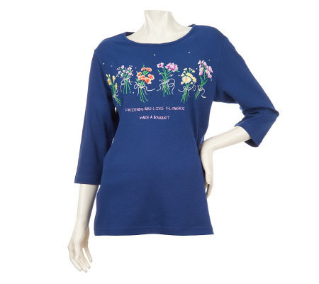 Quacker Factory What's Old is New Floral Bouquet 3/4 Sleeve T-shirt