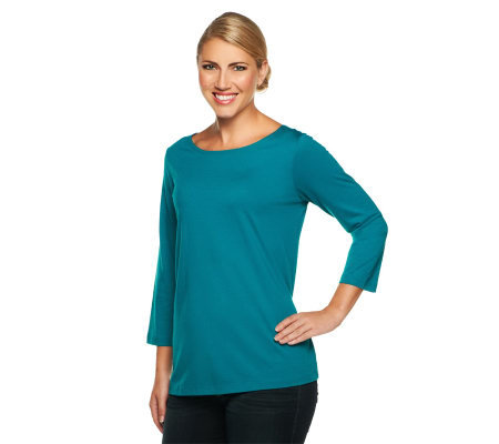 Susan Graver Essentials Cotton Modal 3/4 Sleeve Bateau Neck Top