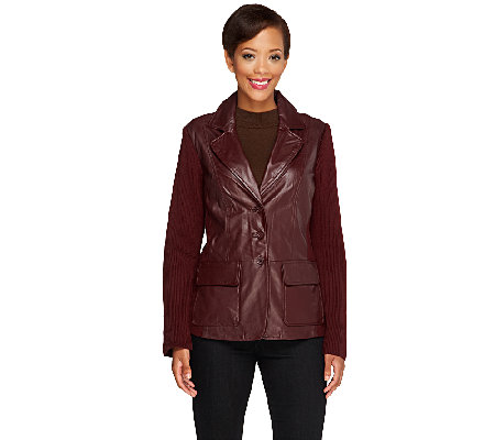 Linea by Louis Dell'Olio Leather Blazer with Knit Sleeves