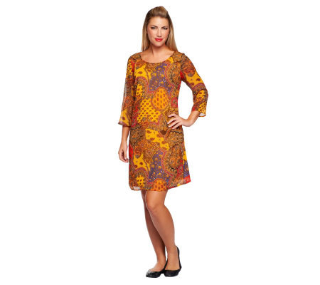 Isaac Mizrahi Live! Paisley Print 3/4 Sleeve Dress