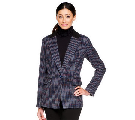 Linea by Louis Dell'Olio One-Button Blazer with Trim Detail