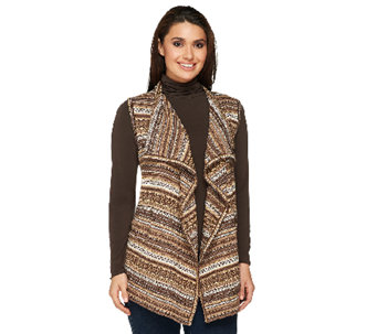 Denim & Co. Fair Isle Drape Front Sweater Vest - A238354