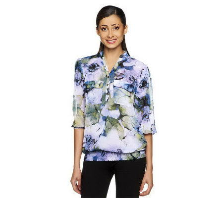 """As Is"" Susan Graver Printed Chiffon Pull Over Y-neck Blouse"