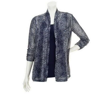 """As Is"" Susan Graver Printed Mesh Cascade Cardigan with Scoop Neck Tank"