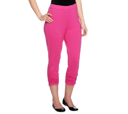 Susan Graver French Terry Capri Pants with Ruched Leg Detail