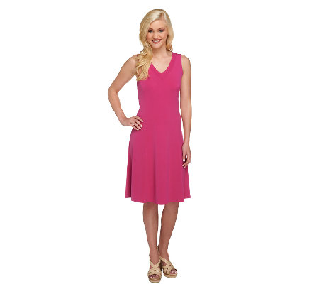 Susan Graver Liquid Knit Sleeveless V-Neck Dress