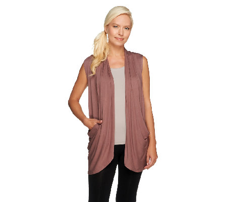 LOGO by Lori Goldstein Drape Front Knit Vest with Pockets