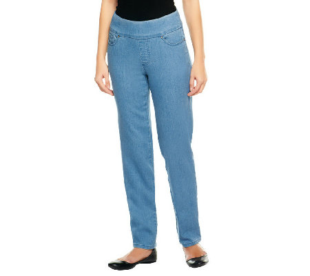"""As Is"" Denim & Co. Petite ""How Smooth"" Straight Leg Pull-On -Jeans"