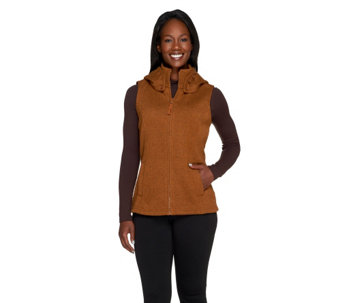 Denim & Co. Active Sweater Fleece Vest with Removable Hood - A257354
