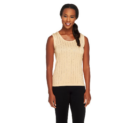 Joan Rivers Sequin Embellished Knit Tank