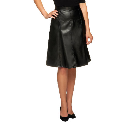 Dennis Basso Faux Leather Gored Skirt