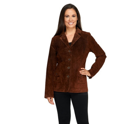 Dennis Basso Washable Suede Button Front Blazer with Front Pockets