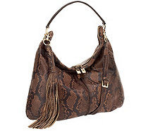G.I.L.I. Milano Double Zip Exotic Leather Hobo - A259454