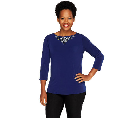 Susan Graver Liquid Knit 3/4 Sleeve Embellished Bateau Neck Top
