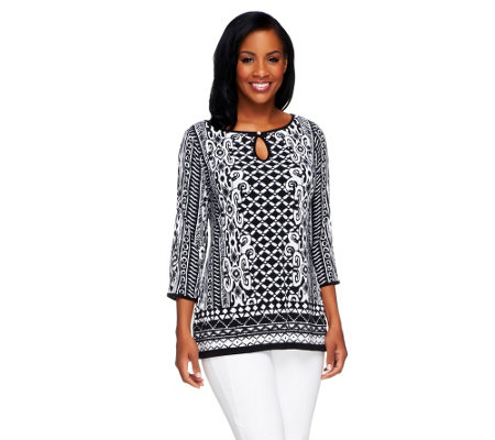 """As Is"" Susan Graver Liquid Knit Printed Top w/Keyhole Button Detail"