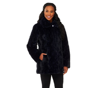 Dennis Basso Textured Faux Fur Envelope Collar Coat - A261154