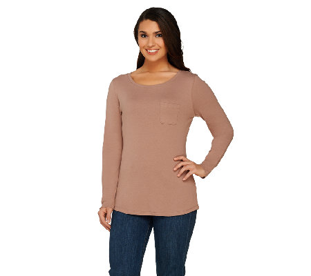 Liz Claiborne New York Essentials Long Sleeve Tee with Pocket