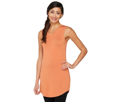 LOGO Layers by Lori Goldstein Curved Hem Tank with V-neck
