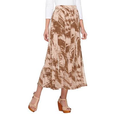 George Simonton Regular Printed Milky Knit Maxi Skirt with Chiffon Godets