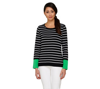 Denim & Co. Striped Long Sleeve Sweater with Color-Block - A262554