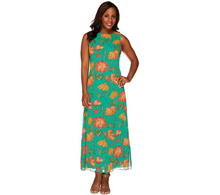 Liz Claiborne New York Petite Floral Print Maxi Dress