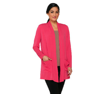 Susan Graver Liquid Knit Open Front Cardigan with Pockets - A264454