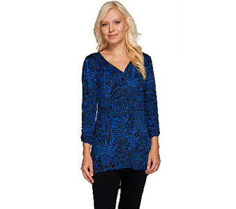 Attitudes by Renee Printed Ruched Sleeve Tunic with Front Seam - A266854