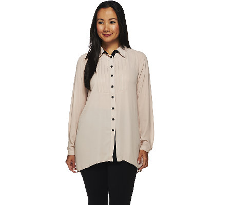 Styled by Joe Zee Pleated Button Front Blouse