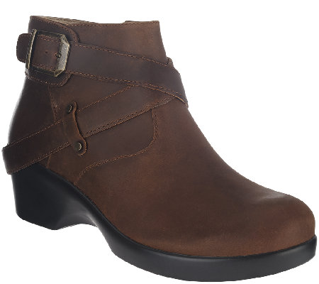 Alegria Leather Ankle Boots w/ Strap Details - Eva