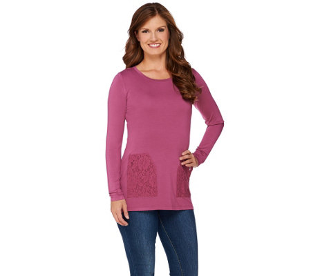 LOGO by Lori Goldstein Knit Top with Brushed Lace Pockets