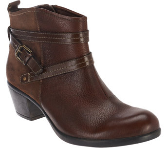 Earth Origins Leather Ankle Boots w/ Strap Details - Raven - A270054