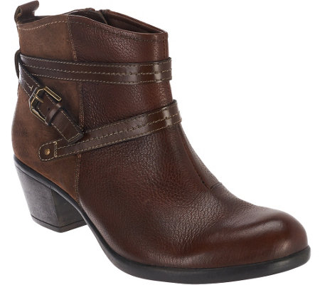 Earth Origins Leather Ankle Boots w/ Strap Details - Raven