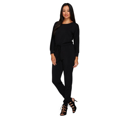 H by Halston Petite Jet Set Jersey Long Sleeve Knit Jumpsuit