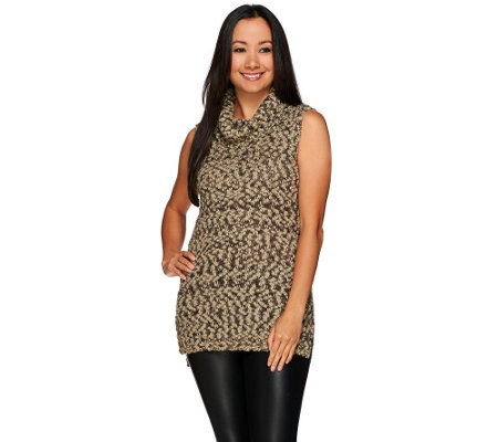 G.I.L.I. Funnel Neck Sleeveless Tunic Sweater