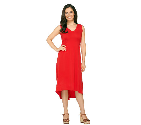 """As Is"" Susan Graver Weekend Cotton Modal Dress with Hi-Low Hem"