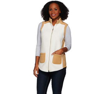 Susan Graver Weekend Bonded Polar Fleece Zip Front ColorBlock Vest - A271654