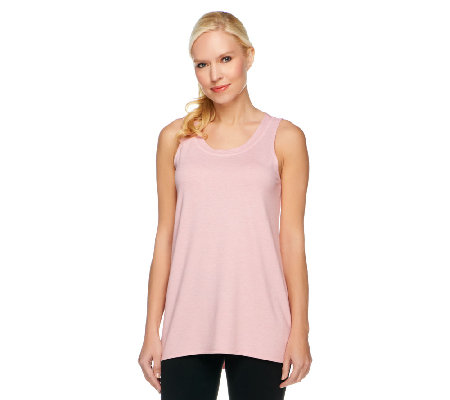 """As Is"" LOGO Lounge by Lori Goldstein Regular Hi-Low Hem Knit Tank"
