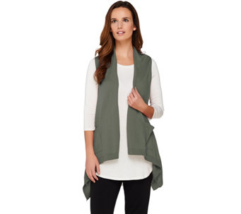 LOGO by Lori Goldstein Cotton Cashmere Vest with Angled Pockets - A272854