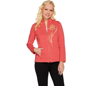 Bob Mackie's Embroidered Iris Zip Front Jacket - A273154