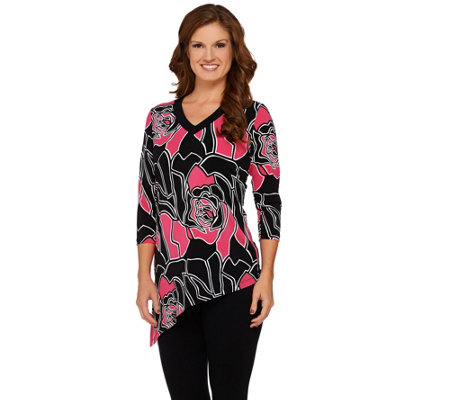 Susan Graver Printed Liquid Knit V-Neck Top with Asymmetric Hem