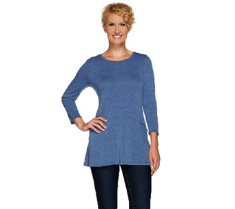"""As Is"" LOGO by Lori Goldstein Heathered Knit Top with Front Seam Pockets - A274654"