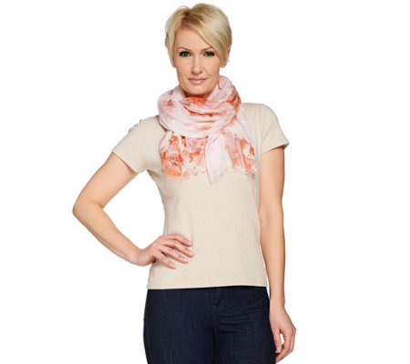 H by Halston Floral Printed Scarf with Fringe