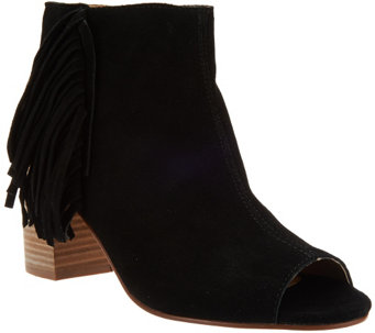 """As Is"" Kensie Suede Open-toe Booties with Side Fringe - Erika - A275654"