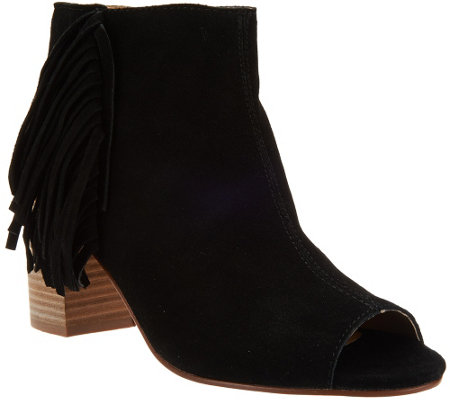 """As Is"" Kensie Suede Open-toe Booties with Side Fringe - Erika"