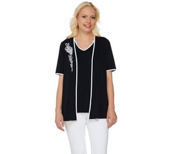 Bob Mackie's Embroidered Open Front Knit Cardigan and Tank Set - A276554